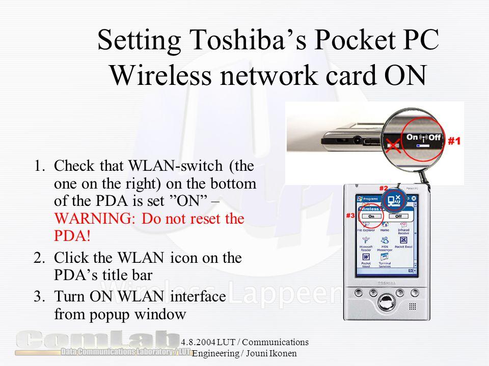 4.8.2004 LUT / Communications Engineering / Jouni Ikonen How to use it.