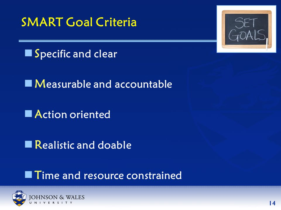 14  S pecific and clear  M easurable and accountable  A ction oriented  R ealistic and doable  T ime and resource constrained SMART Goal Criteria