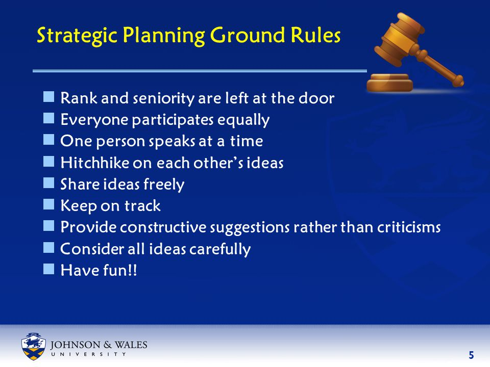 5 Strategic Planning Ground Rules  Rank and seniority are left at the door  Everyone participates equally  One person speaks at a time  Hitchhike on each other's ideas  Share ideas freely  Keep on track  Provide constructive suggestions rather than criticisms  Consider all ideas carefully  Have fun!!