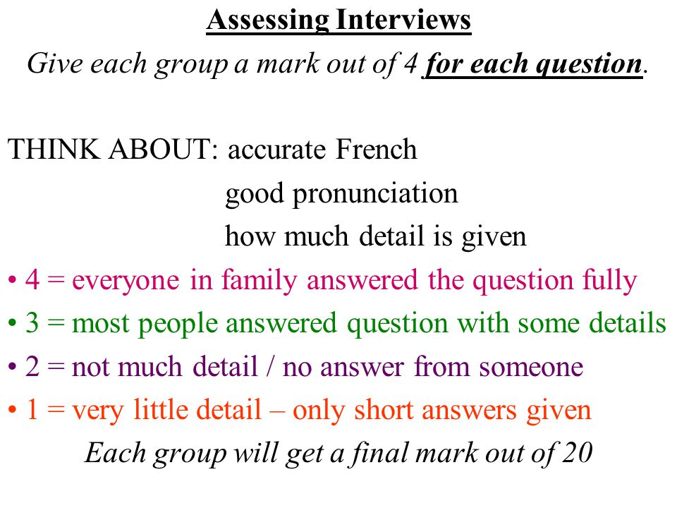 Assessing Interviews Give each group a mark out of 4 for each question.