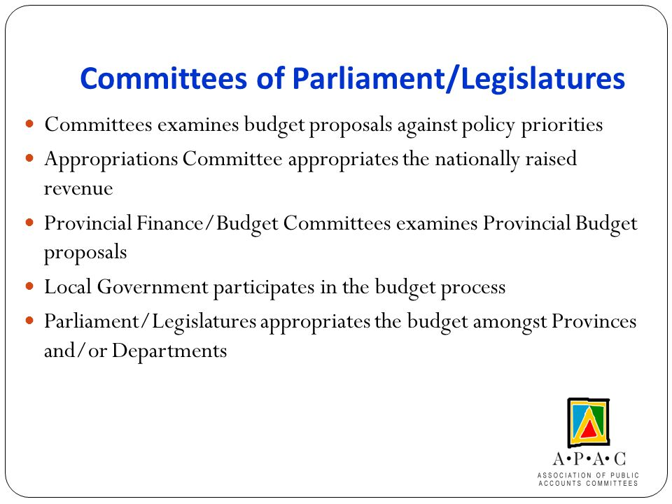 Committees of Parliament/Legislatures Committees examines budget proposals against policy priorities Appropriations Committee appropriates the nationally raised revenue Provincial Finance/Budget Committees examines Provincial Budget proposals Local Government participates in the budget process Parliament/Legislatures appropriates the budget amongst Provinces and/or Departments