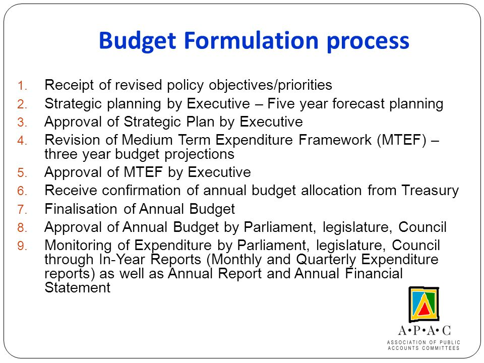 Budget Formulation process 1. Receipt of revised policy objectives/priorities 2.