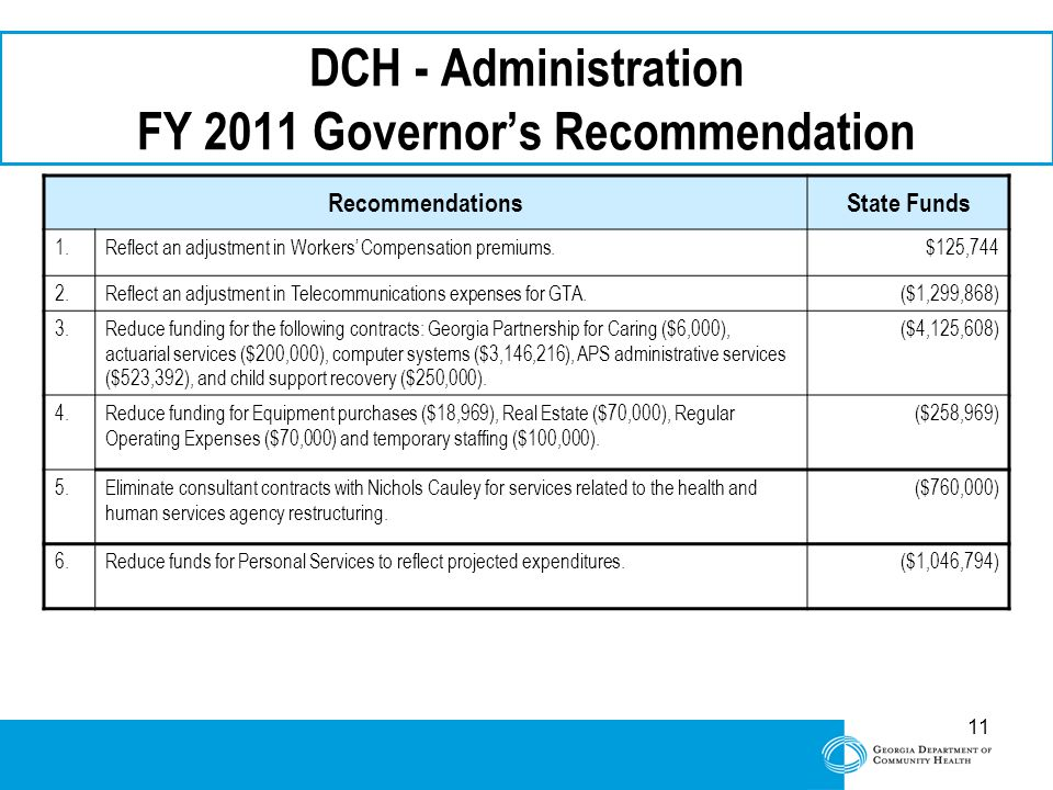 11 DCH - Administration FY 2011 Governor's Recommendation RecommendationsState Funds 1.Reflect an adjustment in Workers' Compensation premiums.$125,744 2.Reflect an adjustment in Telecommunications expenses for GTA.($1,299,868) 3.Reduce funding for the following contracts: Georgia Partnership for Caring ($6,000), actuarial services ($200,000), computer systems ($3,146,216), APS administrative services ($523,392), and child support recovery ($250,000).