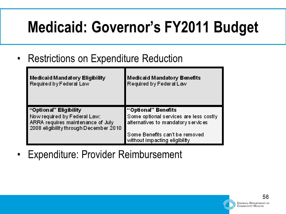 56 Medicaid: Governor's FY2011 Budget Restrictions on Expenditure Reduction Expenditure: Provider Reimbursement