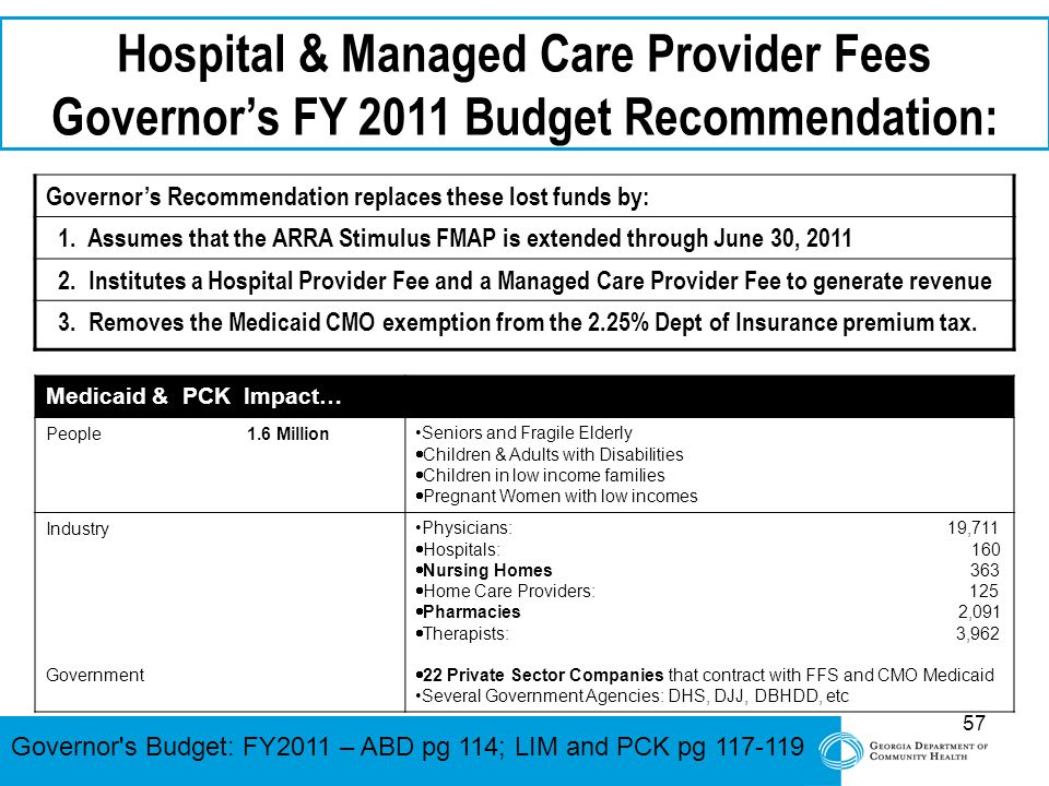 57 Hospital & Managed Care Provider Fees Governor's FY 2011 Budget Recommendation: Governor's Recommendation replaces these lost funds by: 1. Assumes