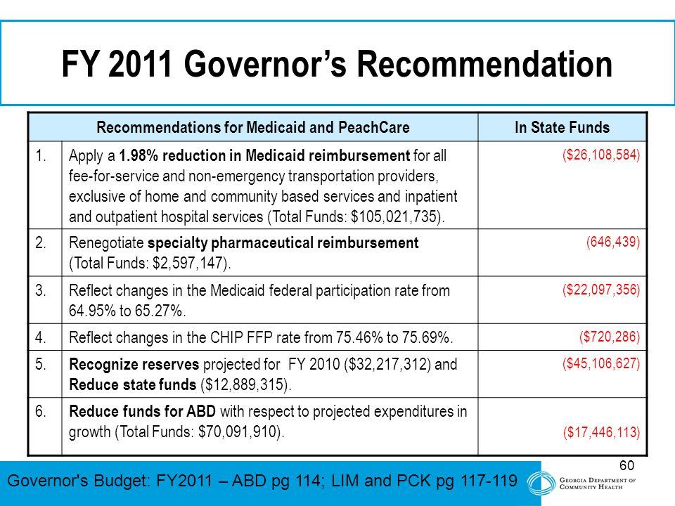 60 FY 2011 Governor's Recommendation Recommendations for Medicaid and PeachCareIn State Funds 1.