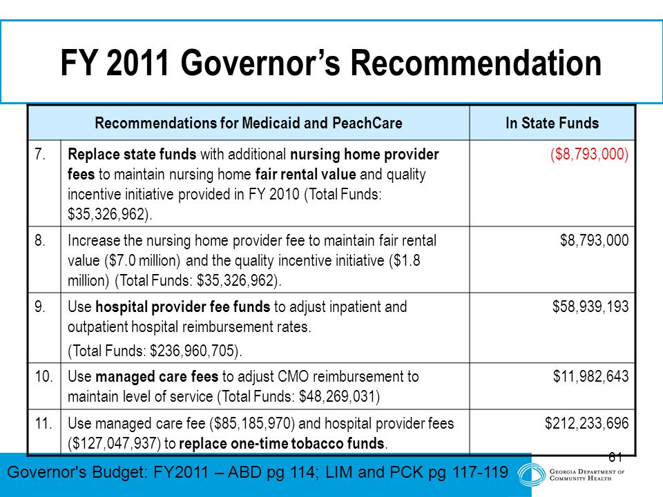 61 FY 2011 Governor's Recommendation Recommendations for Medicaid and PeachCareIn State Funds 7. Replace state funds with additional nursing home prov