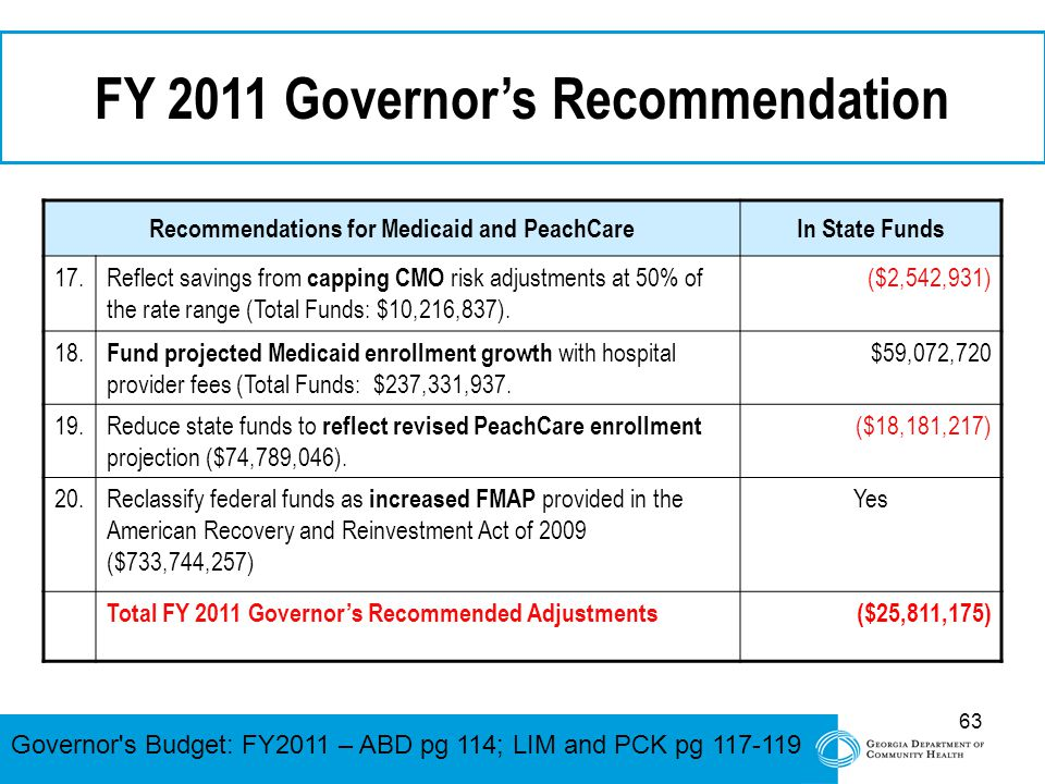 63 FY 2011 Governor's Recommendation Recommendations for Medicaid and PeachCareIn State Funds 17. Reflect savings from capping CMO risk adjustments at