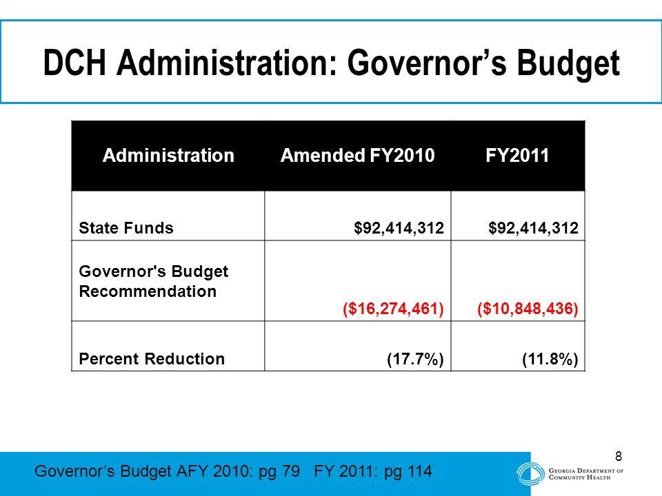 8 DCH Administration: Governor's Budget Governor's Budget AFY 2010: pg 79 FY 2011: pg 114 AdministrationAmended FY2010FY2011 State Funds$92,414,312 Governor s Budget Recommendation ($16,274,461)($10,848,436) Percent Reduction(17.7%)(11.8%)