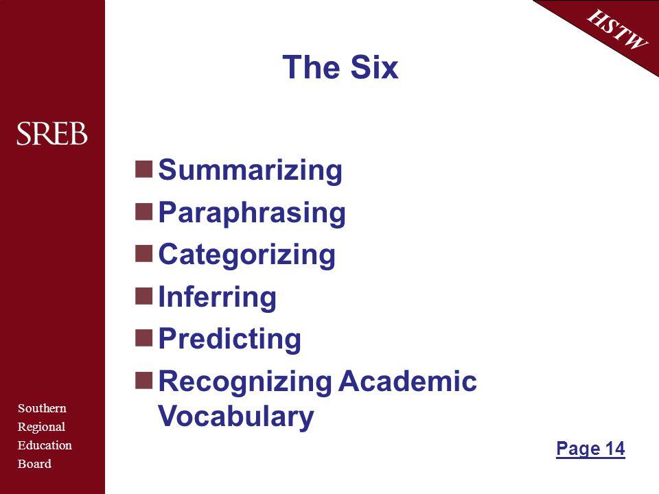 Southern Regional Education Board HSTW The Six Summarizing Paraphrasing Categorizing Inferring Predicting Recognizing Academic Vocabulary Page 14