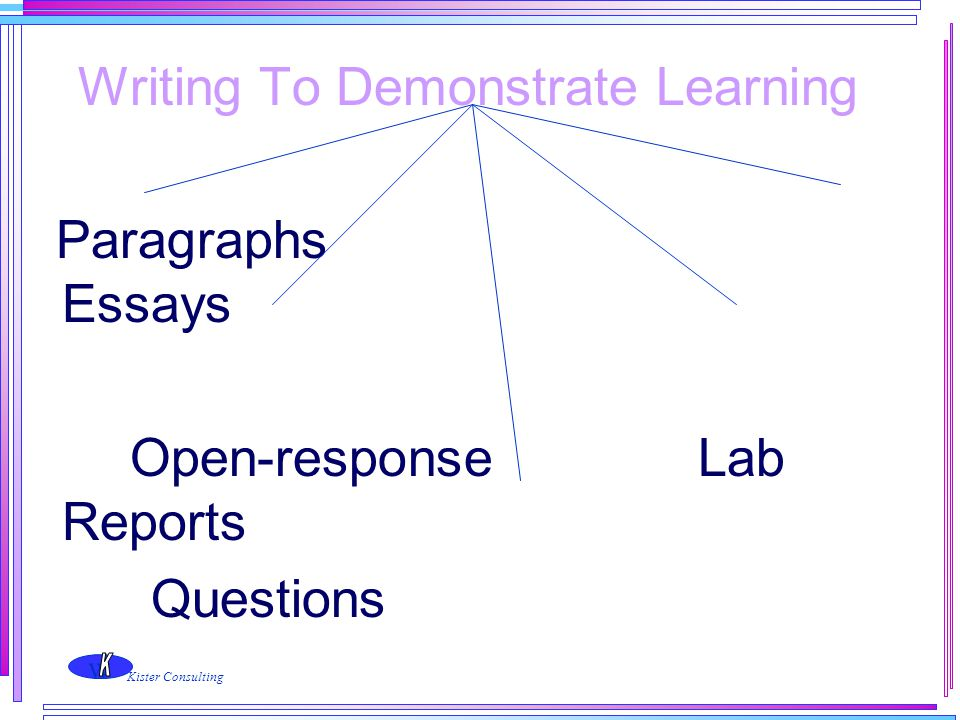 w Kister Consulting Writing To Demonstrate Learning Paragraphs Essays Open-response Lab Reports Questions Research Assignments