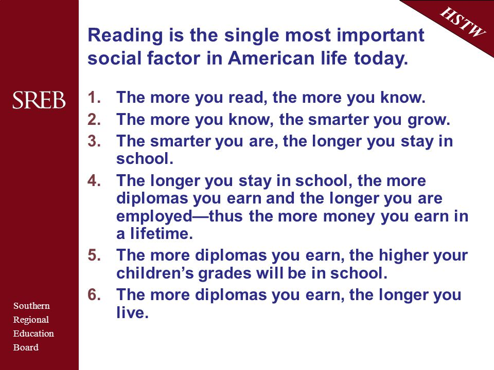 Southern Regional Education Board HSTW Reading is the single most important social factor in American life today. 1.The more you read, the more you kn