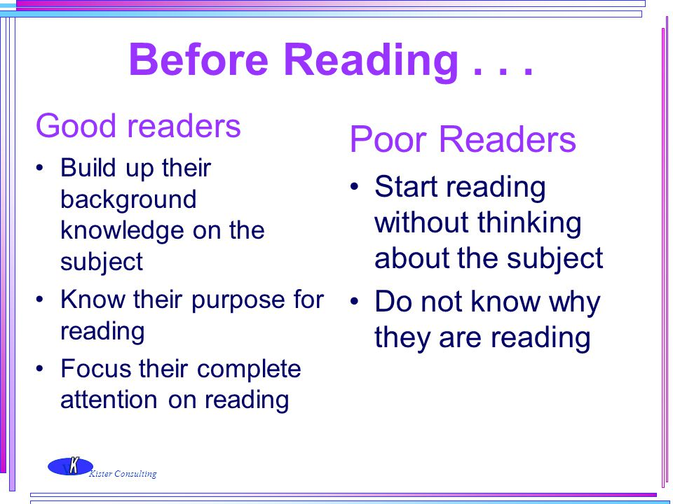 w Kister Consulting Before Reading... Good readers Build up their background knowledge on the subject Know their purpose for reading Focus their compl