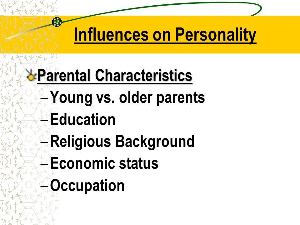 Influences on Personality Cultural Environment – Example: US = competitive, assertive, individuals Japan = cooperative, passive, group Sex differences – Girls = pink & dolls vs.