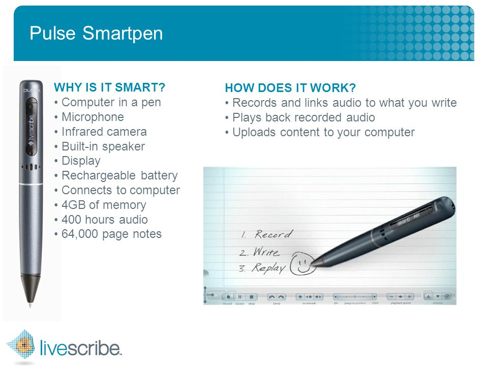 2007 © Livescribe, Inc., Confidential Pulse Smartpen WHY IS IT SMART.