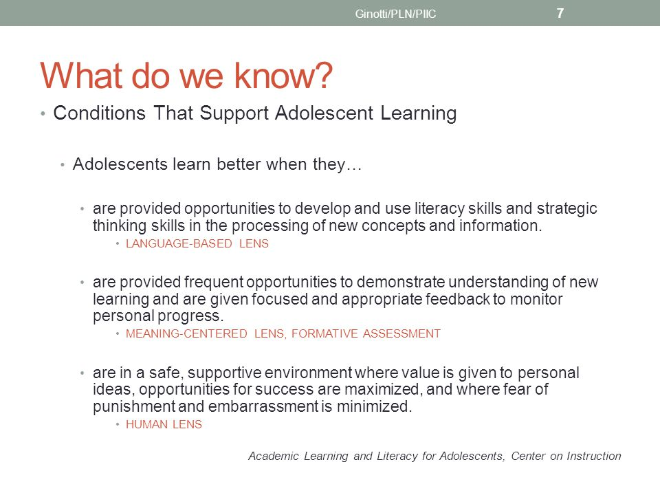 Some important references Adolescent Literacy Resources: Linking Research and Practice Julie Meltzer with Nancy Cook Smith and Holly Clark from The LAB at Brown University, 2008 The Voice of Evidence in Learning Research: Improving Adolescent Literacy J.T.