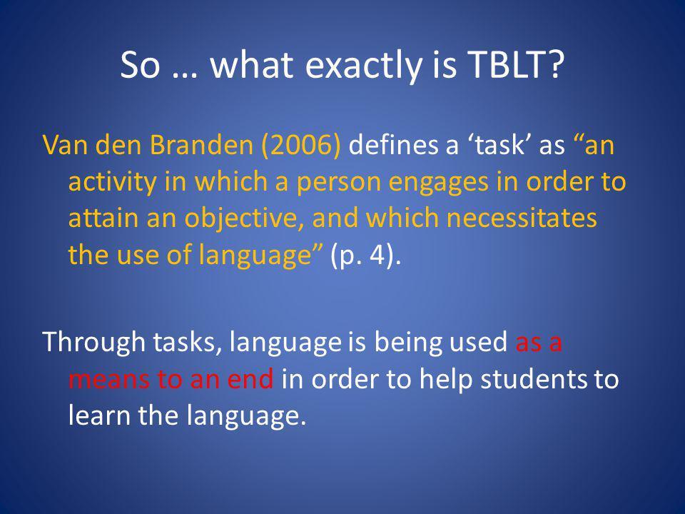 So … what exactly is TBLT.