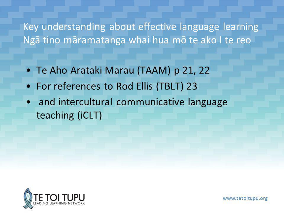 www.tetoitupu.org Key understanding about effective language learning Ngā tino māramatanga whai hua mō te ako I te reo Te Aho Arataki Marau (TAAM) p 21, 22 For references to Rod Ellis (TBLT) 23 and intercultural communicative language teaching (iCLT)