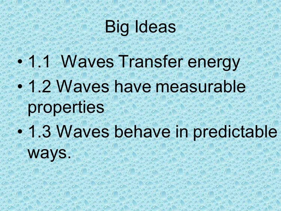 Big Ideas 1.1 Waves Transfer energy 1.2 Waves have measurable properties 1.3 Waves behave in predictable ways.