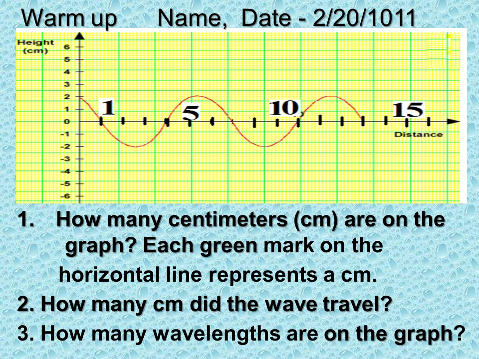 1.How many centimeters (cm) are on the graph? Each green 1.How many centimeters (cm) are on the graph? Each green mark on the horizontal line represen