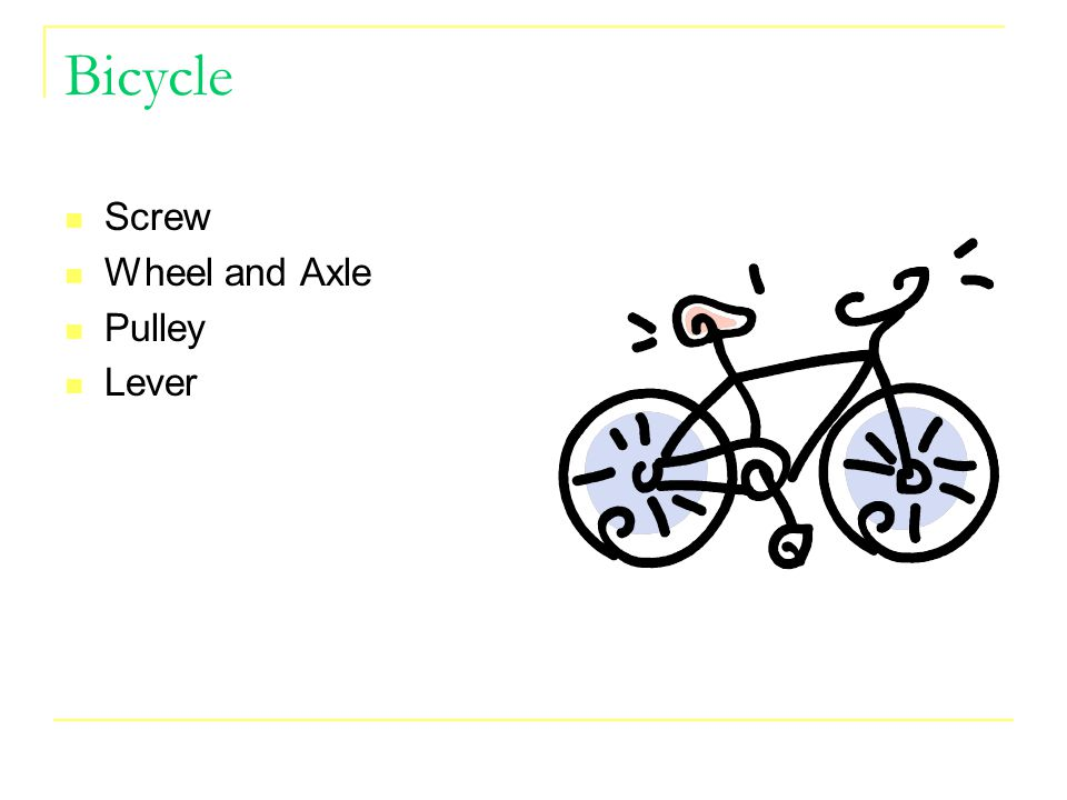 Bicycle Screw Wheel and Axle Pulley Lever