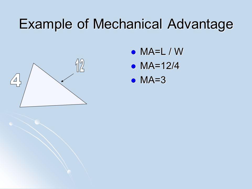 Example of Mechanical Advantage MA=L / W MA=L / W MA=12/4 MA=12/4 MA=3 MA=3