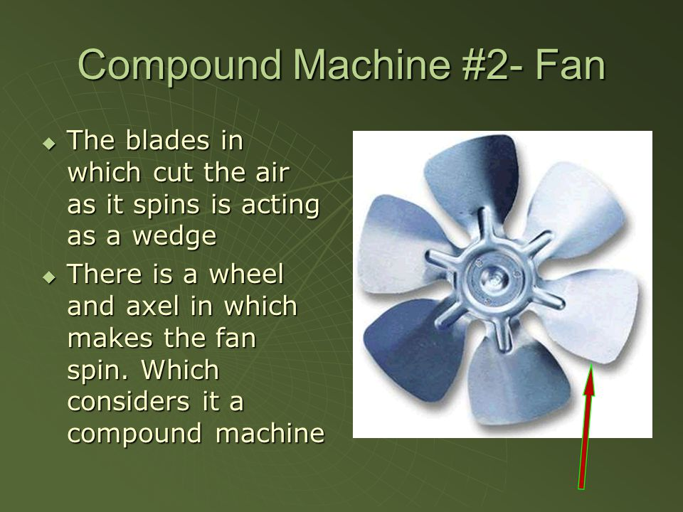 Compound Machine #2- Fan  The blades in which cut the air as it spins is acting as a wedge  There is a wheel and axel in which makes the fan spin.