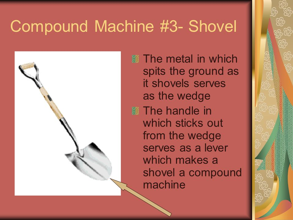 Compound Machine #3- Shovel The metal in which spits the ground as it shovels serves as the wedge The handle in which sticks out from the wedge serves as a lever which makes a shovel a compound machine