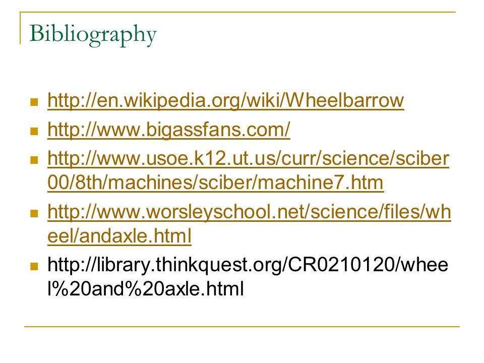 Bibliography http://en.wikipedia.org/wiki/Wheelbarrow http://www.bigassfans.com/ http://www.usoe.k12.ut.us/curr/science/sciber 00/8th/machines/sciber/machine7.htm http://www.usoe.k12.ut.us/curr/science/sciber 00/8th/machines/sciber/machine7.htm http://www.worsleyschool.net/science/files/wh eel/andaxle.html http://www.worsleyschool.net/science/files/wh eel/andaxle.html http://library.thinkquest.org/CR0210120/whee l%20and%20axle.html