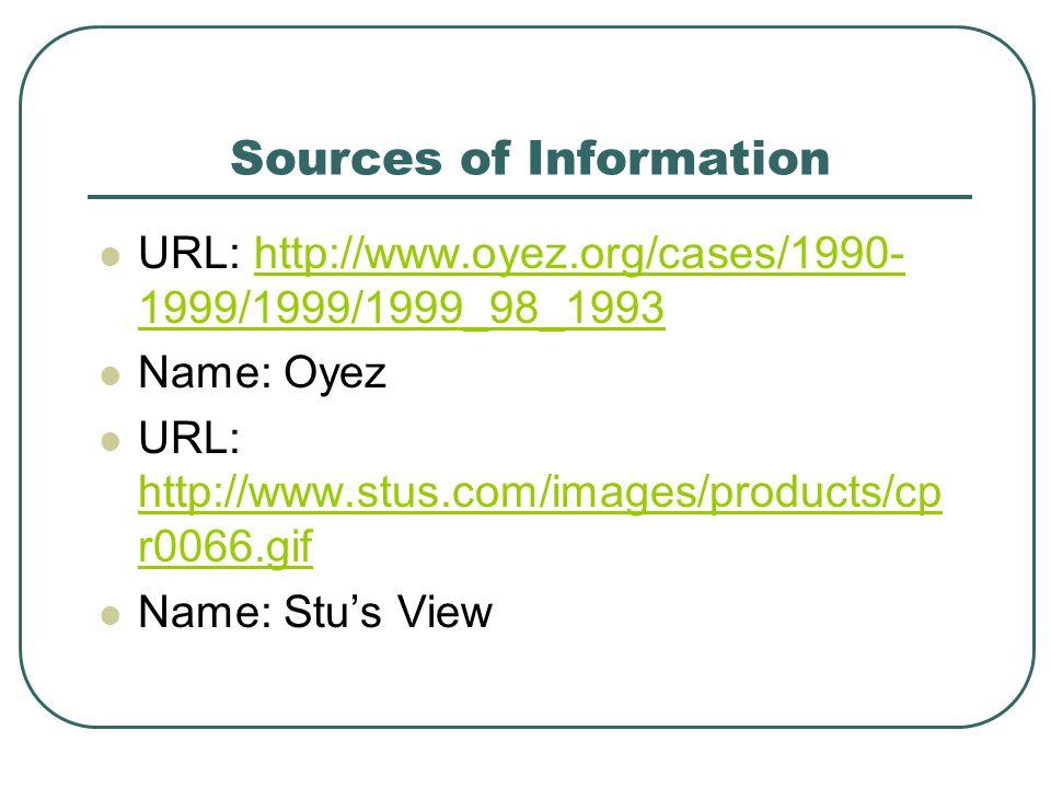 Sources of Information URL: http://www.oyez.org/cases/1990- 1999/1999/1999_98_1993http://www.oyez.org/cases/1990- 1999/1999/1999_98_1993 Name: Oyez UR