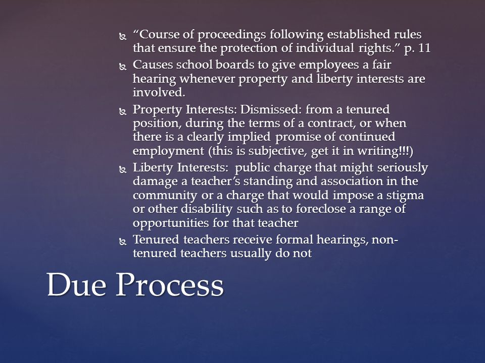  Course of proceedings following established rules that ensure the protection of individual rights. p.