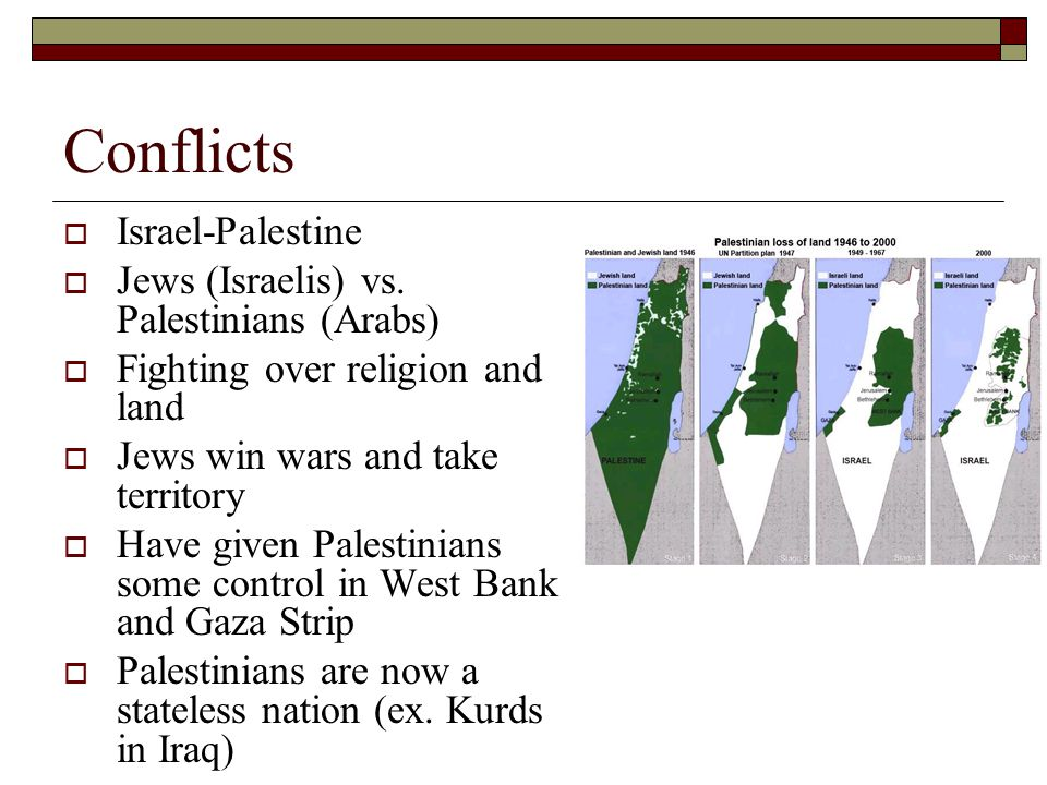 Conflicts  Israel-Palestine  Jews (Israelis) vs. Palestinians (Arabs)  Fighting over religion and land  Jews win wars and take territory  Have gi
