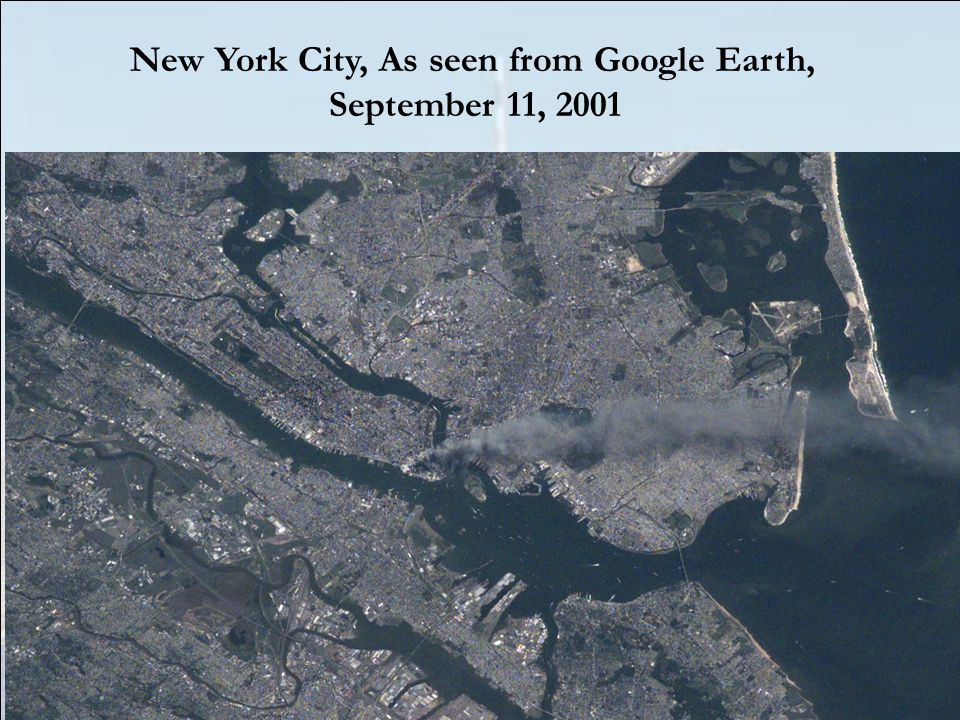 New York City, As seen from Google Earth, September 11, 2001