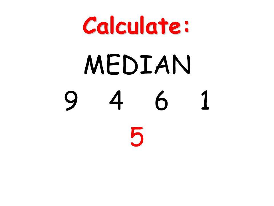 Calculate: MEDIAN 9 4 6 1 5