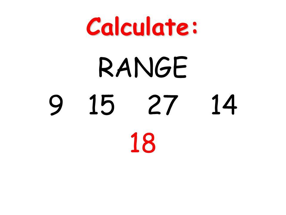Calculate: RANGE 9 15 27 14 18