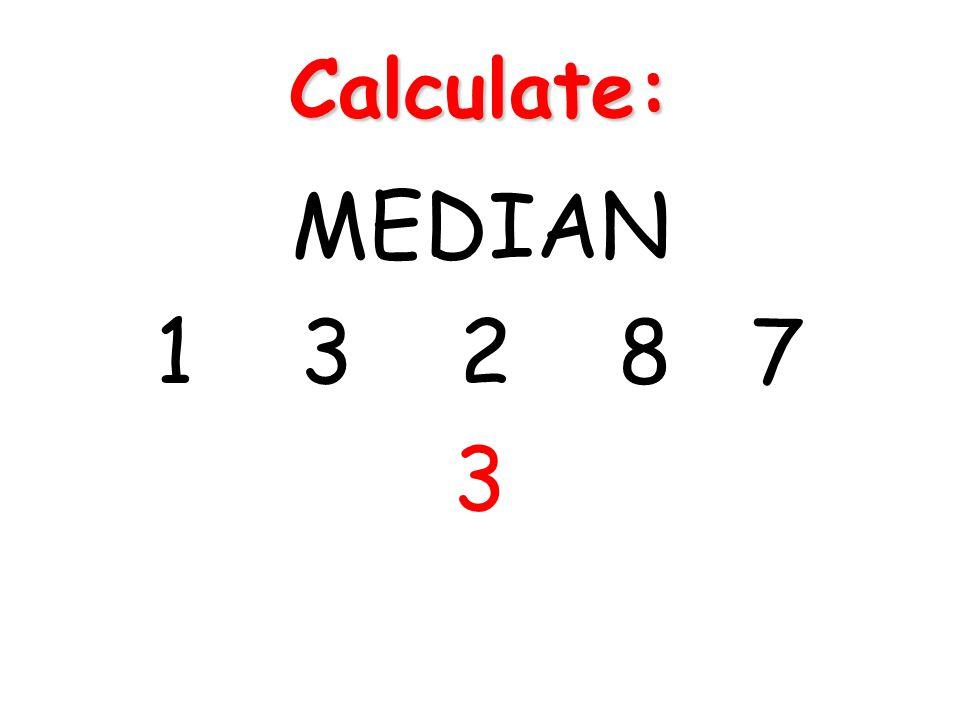 Calculate: MEDIAN 1 3 2 8 7 3