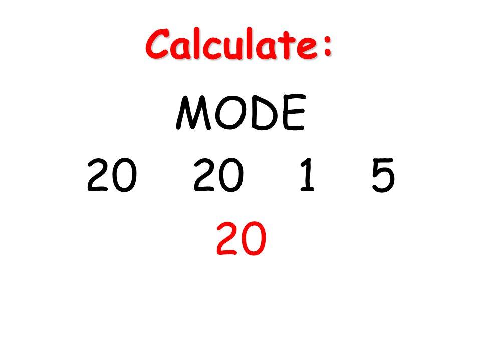 Calculate: MODE 20 20 1 5 20
