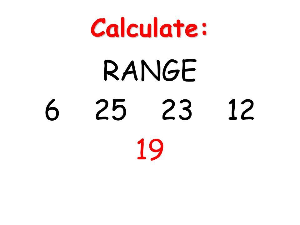 Calculate: RANGE 6 25 23 12 19