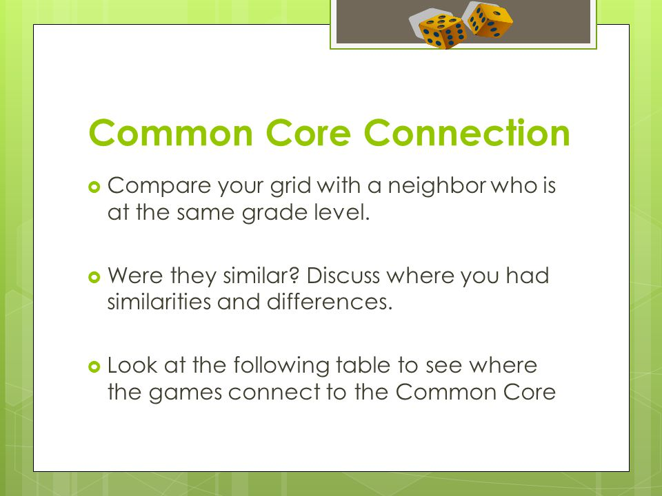 Common Core Connection  Compare your grid with a neighbor who is at the same grade level.