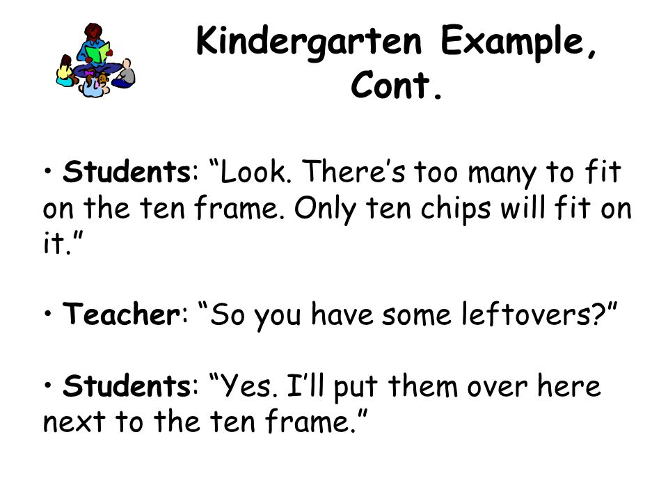 """Students: """"Look. There's too many to fit on the ten frame. Only ten chips will fit on it."""" Teacher: """"So you have some leftovers?"""" Students: """"Yes. I'll"""
