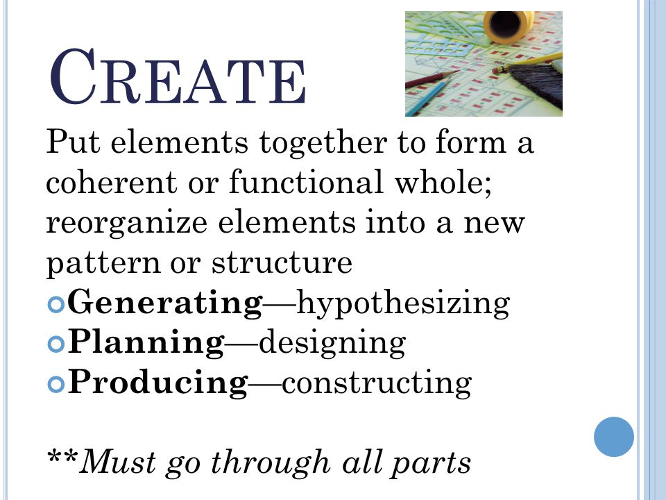 C REATE Put elements together to form a coherent or functional whole; reorganize elements into a new pattern or structure Generating —hypothesizing Planning —designing Producing —constructing **Must go through all parts