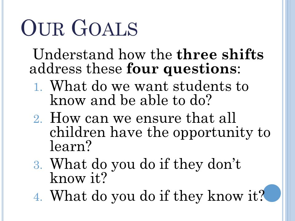 O UR G OALS Understand how the three shifts address these four questions : 1.