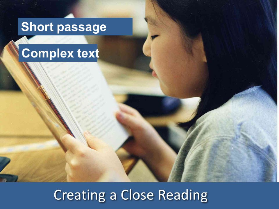 Creating a Close Reading Short passage Complex text