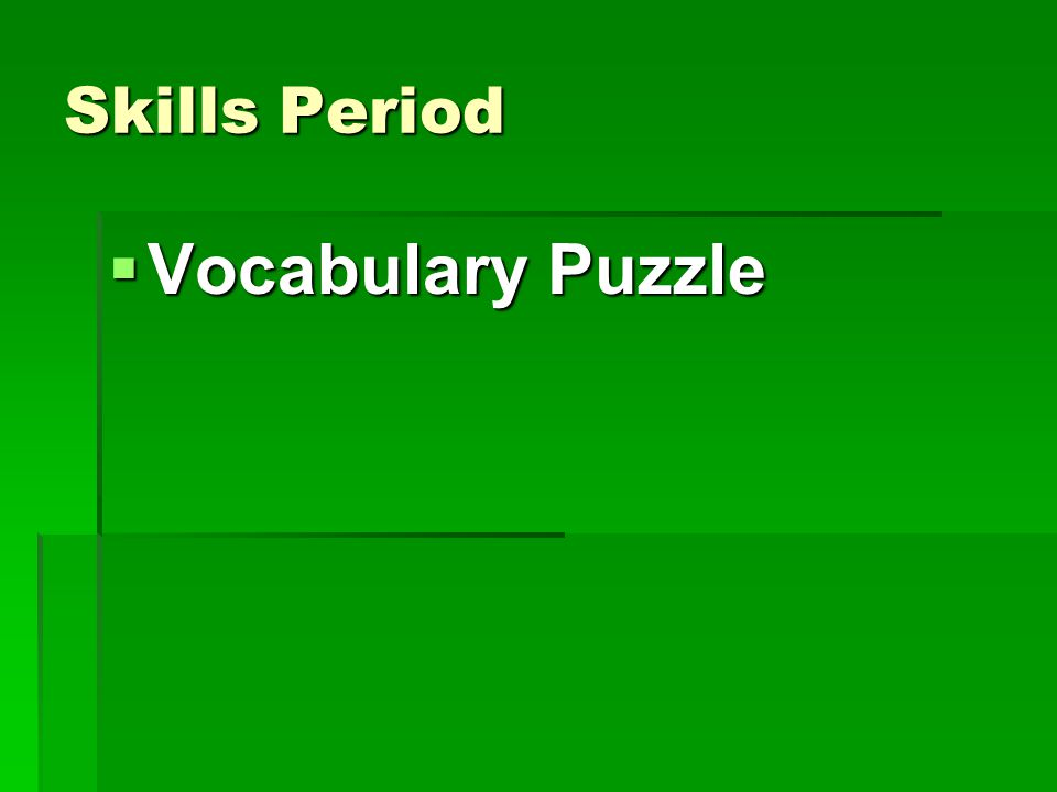 Skills Period  Vocabulary Puzzle