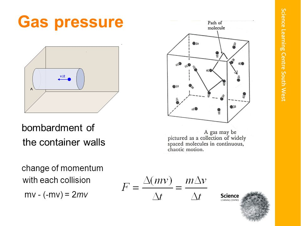 Gas pressure bombardment of the container walls change of momentum with each collision mv - (-mv) = 2mv