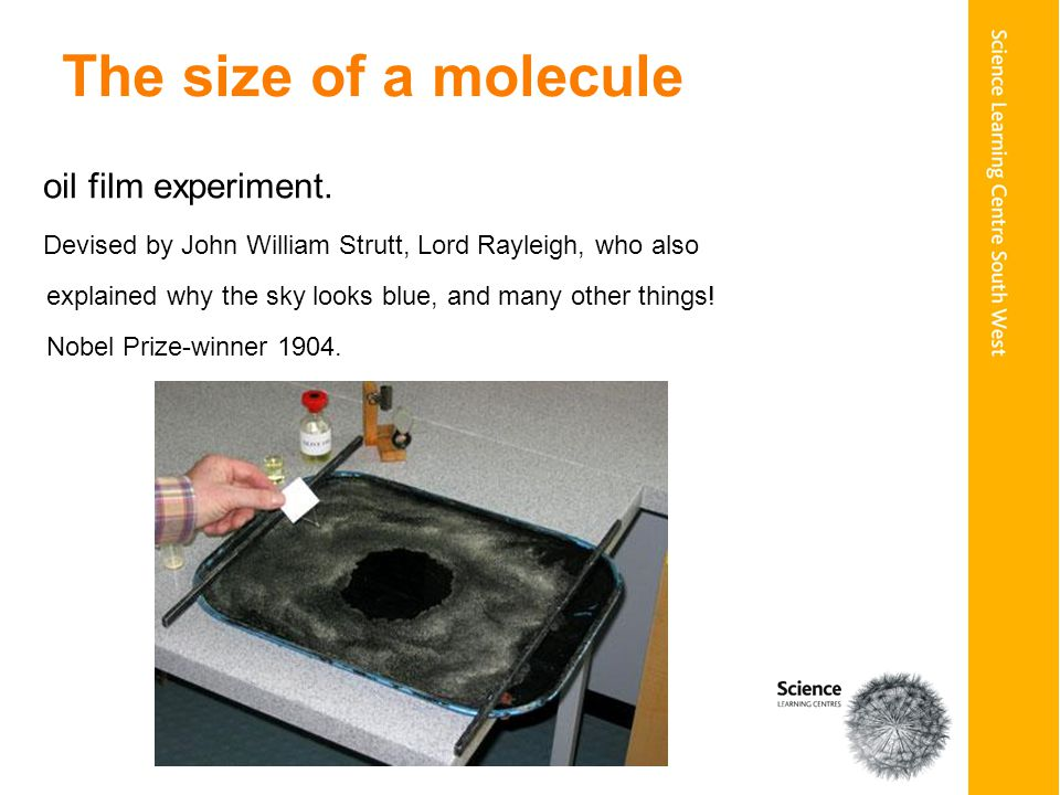 The size of a molecule oil film experiment.