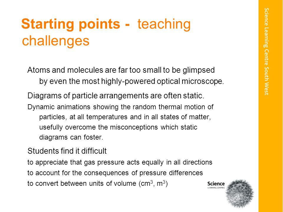 Starting points - teaching challenges Atoms and molecules are far too small to be glimpsed by even the most highly-powered optical microscope.
