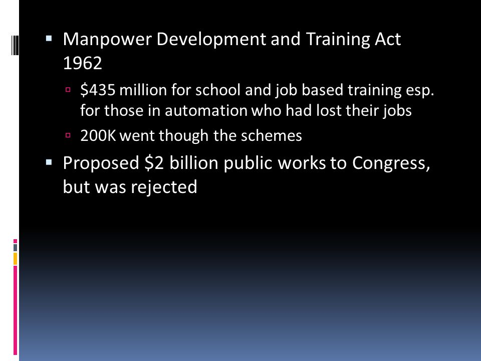  Manpower Development and Training Act 1962  $435 million for school and job based training esp.