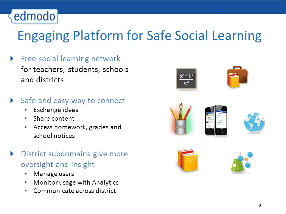 2 Free social learning network for teachers, students, schools and districts Safe and easy way to connect Exchange ideas Share content Access homework, grades and school notices District subdomains give more oversight and insight Manage users Monitor usage with Analytics Communicate across district Engaging Platform for Safe Social Learning