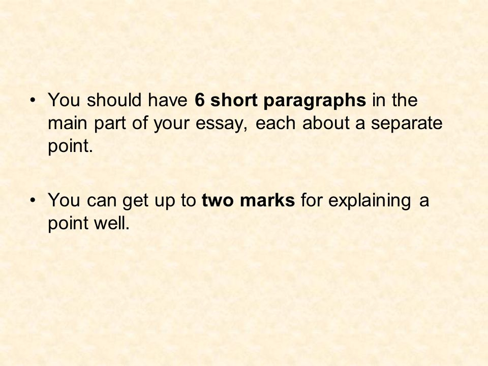 You should have 6 short paragraphs in the main part of your essay, each about a separate point.